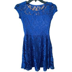 TMG Blue Lace Skater Dress Size Extra Small